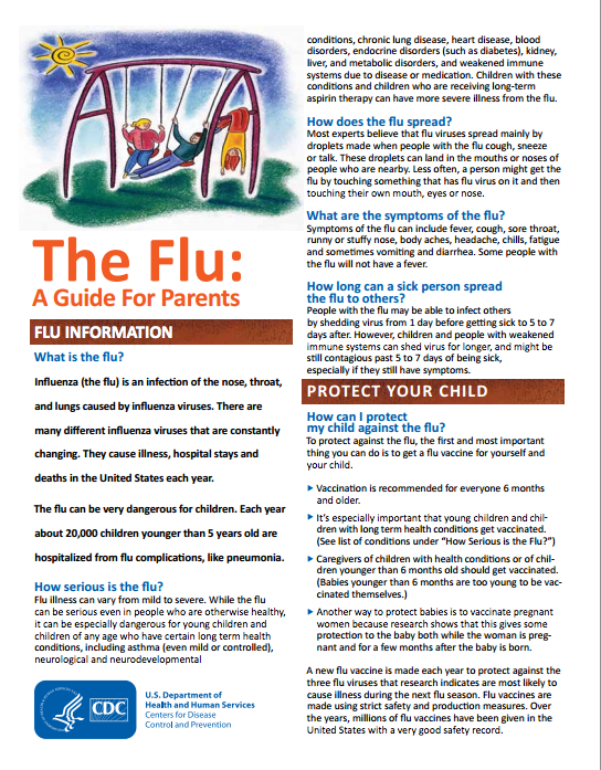 Flu guide for parents by the CDC